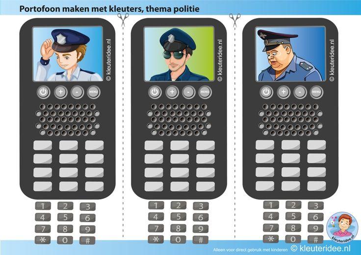 Portofoon knutselen met kleuters , kleuteridee.nl, Kindergarten police theme, free printable.