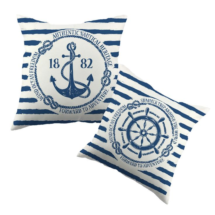 Sea Blue Helm Printed Cushion Cover Anchor Pattern Marine Cottom Throw Pillow Case New Year Decorative Pillowcase   ** Want to know more, click on the image.