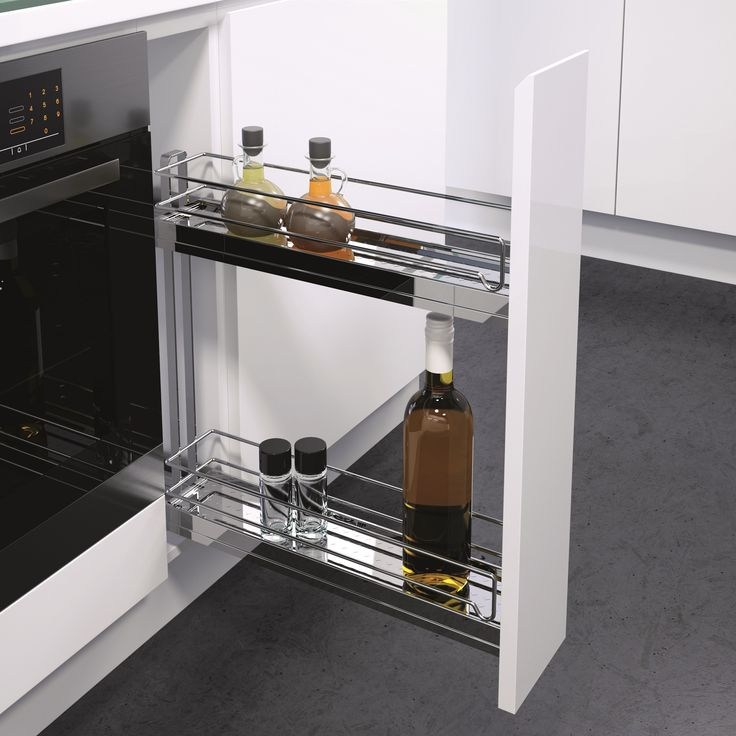 K150 Under Bench Pull Out is so versatile and ensures you can use even the narrowest of spaces; just 150mm cabinet width required! Quiet opening and closing. Standard configuration (as shown) includes 2 chromed shelves with chromed wire surrounds. Also available: Baking Tray Holder set up and Tea Towel Holder set up.