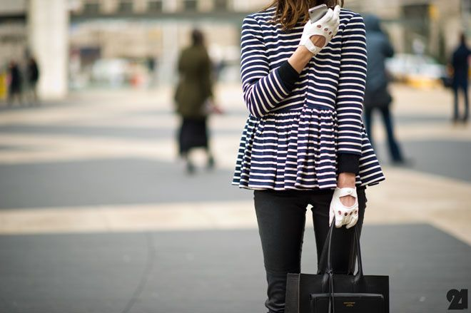 Can anyone ID this top? Love it!: Driving Gloves, Style Inspiration, Peplum Jackets, Street Style, Peplum Color Pink, Stripes, Leather, Black, Peplum Dresses