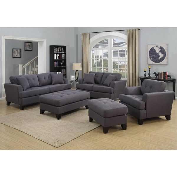 Porter Norwich Charcoal Grey Living Room Set With 4 Throw Pillows (Charcoal) Part 79