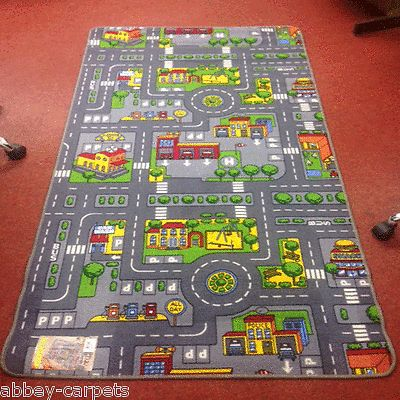 childrens road rug play mat toy car roadway large matchbox kids hot wheels mat ebay