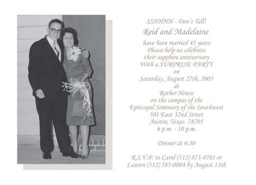Example Of 45th Anniversary Invite