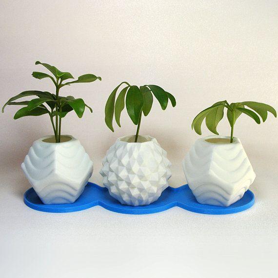 Plastic Flower Pot Set cute 3d printed planters by MeshCloud