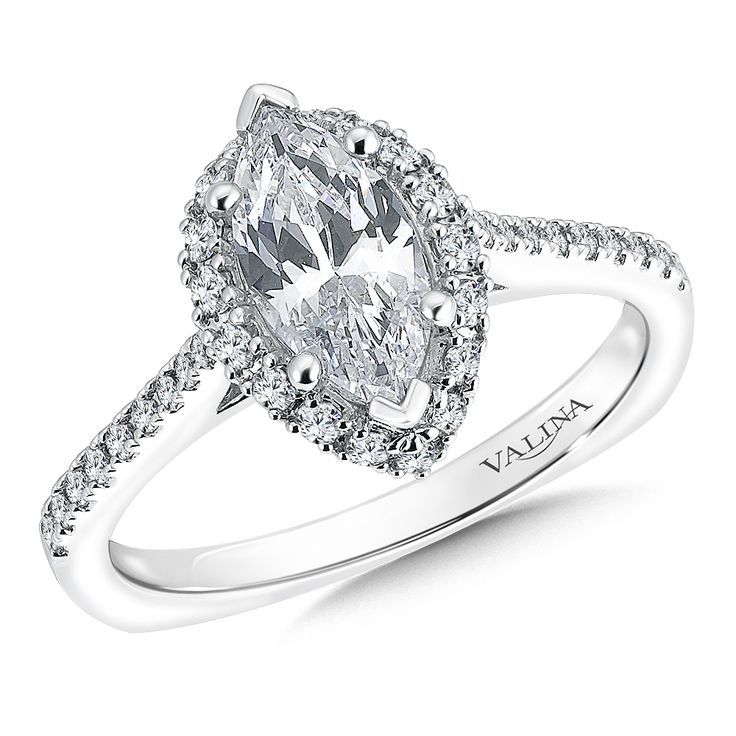 This engagement ring is gorgeous and unique | Valina Marquise shape halo mounting .30 ct. tw., 1 ct. marquis center.