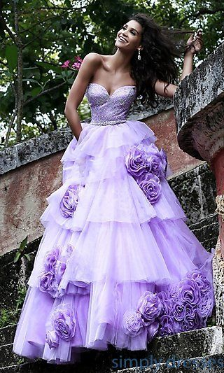 Strapless Floral Applique Ball Gown by Sherri Hill at SimplyDresses.com