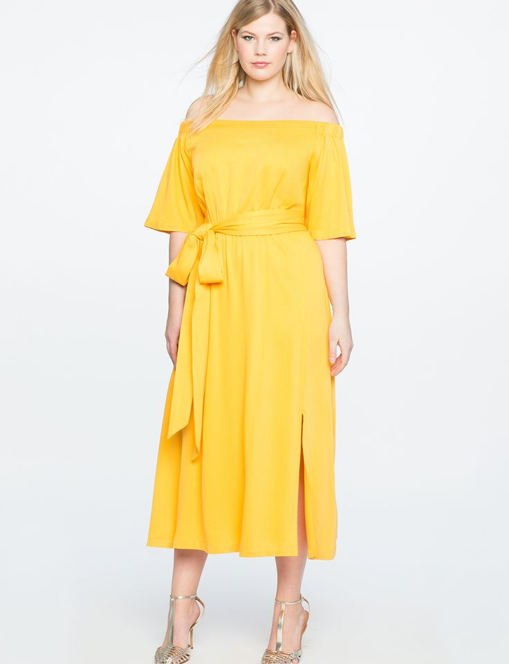 Off the Shoulder Midi Dress with Wrap Skirt LEMON SHINE