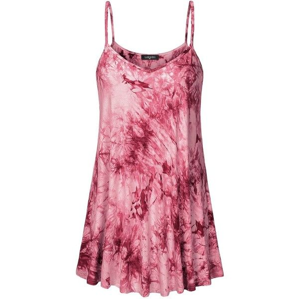 Laksmi Womens Summer Tie-Dye Ombre Camisole Tank Tunic at Amazon... (360 EGP) ❤ liked on Polyvore featuring tops, tunics, tie die tops, camisole tops, pink top, pink tie dye top and pink cami top