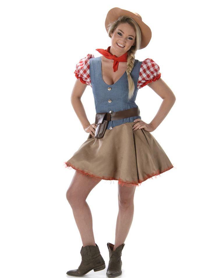 Cowgirl costume for women: This cowgirl costume consists of a dress, a hat, a bandana, and a holster (boots not included). The top of the dress is blue with a jean look, with short puffed sleeves decorated with red and white...
