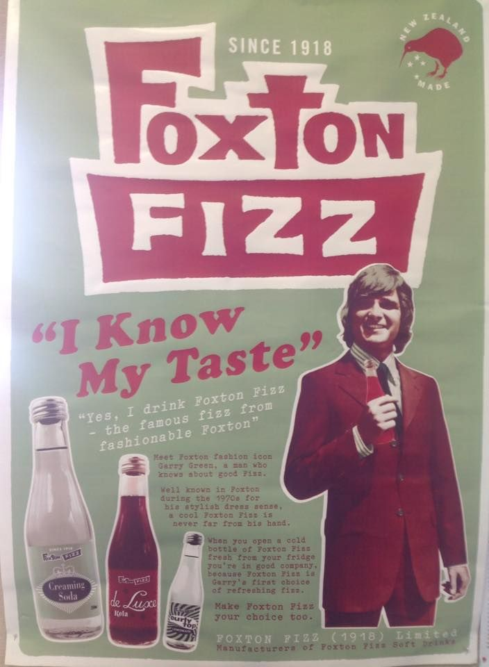 Foxton Fizz advert from the 1970s.Featuring Garry Green. Local resident and Foxton fashion icon Garry Green is hired to promote Foxton Fizz at the Agricultural and Pastoral Show. Garry was well known in Foxton for his stylish dress sense & popular appeal amongst women.
