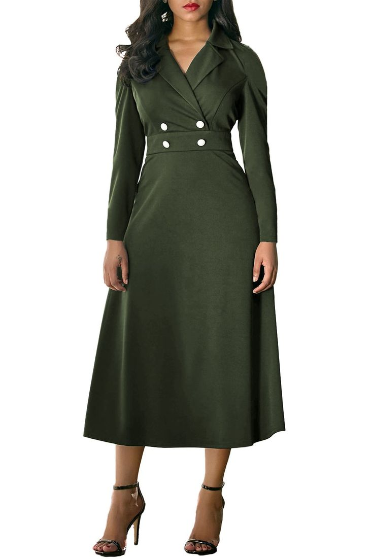 Army Green Button Collared Fit-and-flare Vintage Dress modeshe.com