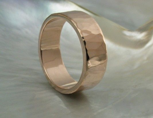 HIS... rose gold...wide ring unique hammered wedding band for men or women, comfort fit, 7mm, in rose gold, yellow gold or white gold. $1,072.00, via Etsy.