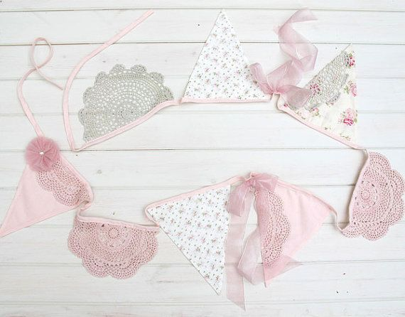 Tea Party Bunting Vintage lace and floral by MissRoseSisterViolet