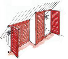 Lamellentüren gibt es in vielen Größen. Als Schrankfronten können sie den Raum der Abseiten nutzbar machen. Für Garderobe oder mit Regalen für Wäsche oder Geschirr. Dahinter lassen sich sogar ein Gäste-WC und ein Waschbecken verbergen.