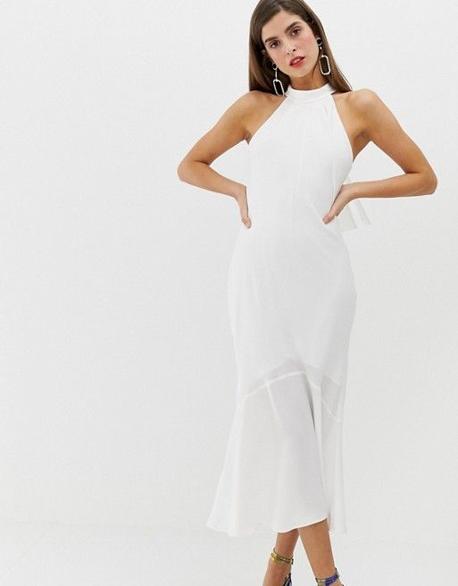 River Island Bodycon Dress With Tie Neck In White In 2019 Wedding
