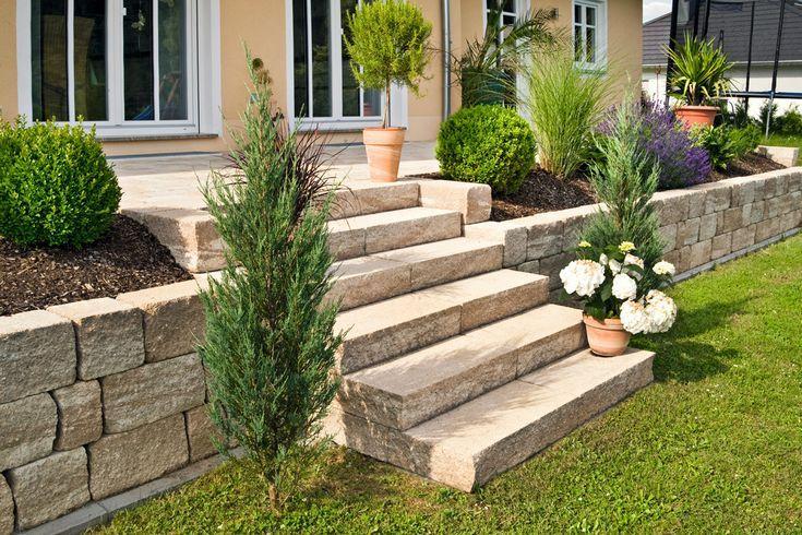 Kleine Gartentreppe in begrünten Garten mit Pflanzen und Hochbeeten