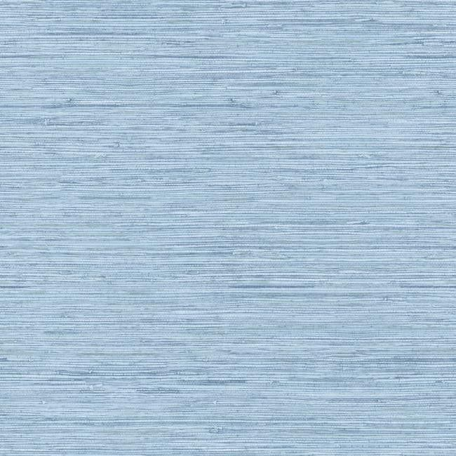 Horizontal Grasscloth Wallpaper in Blue design by York Wallcoverings