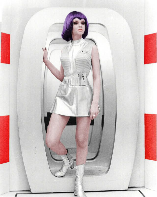 Lt. Gay Ellis (Gabrielle Drake) from the TV series UFO (UK, 1970). Working on the moon doesn't mean you can't do glamour.