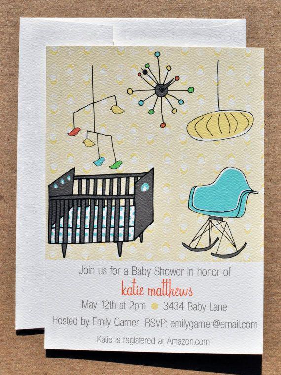 Mid Century Modern Nursery Baby Shower by emilyanndesigns on Etsy, $24.30