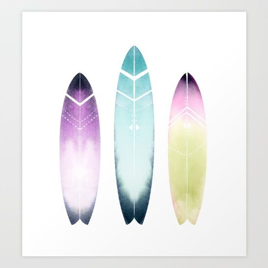 Three colorful tribal surfboards painted in watercolor. <br/> <br/> Surfart, surfprint, surfboards, surfing, ocean art, tribal print, tribal art, aztec print, tribal pattern