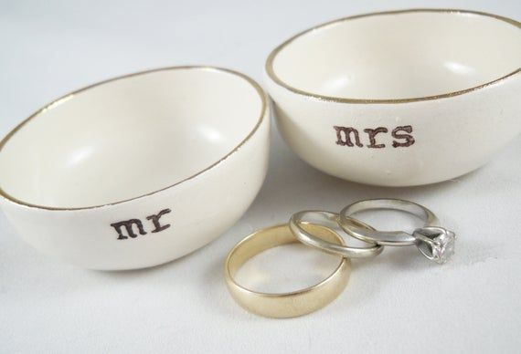 Mr And Mrs Ring Dishes Ready To Ship Wedding Gift For Bride And