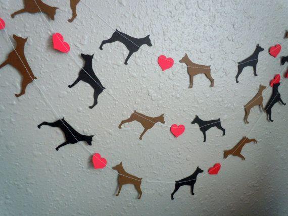 Doberman Love Paper Garland  Valentine's by HookedonArtsNCrafts, $10.00
