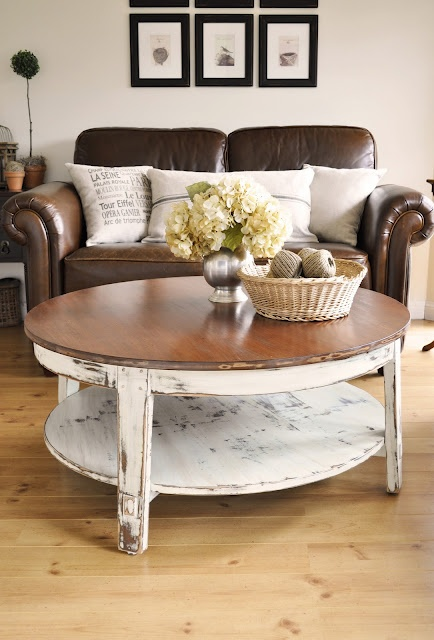 """Distressed Coffee Table: coffee table makeover."" I would like to redo the coffee table in the living room similar to this--wood tone top and distressed white bottom or maybe all distressed white--for a beachy feel, and with a hand painted tile insert of a tide pool. -CAB"