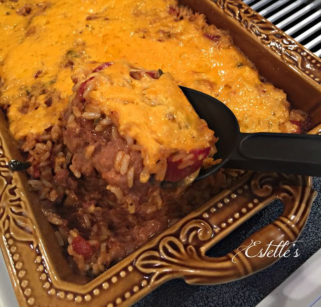Easy Mexican Rice and Bean Casserole at Estelle's