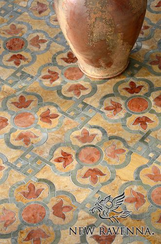 Jaen stone mosaic | New Ravenna Mosaics--if this had blue instead of green it would be perfect