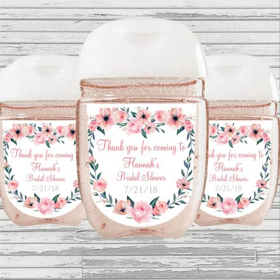 Flower Bridal Shower Favor Hand Sanitizer Label Digital File