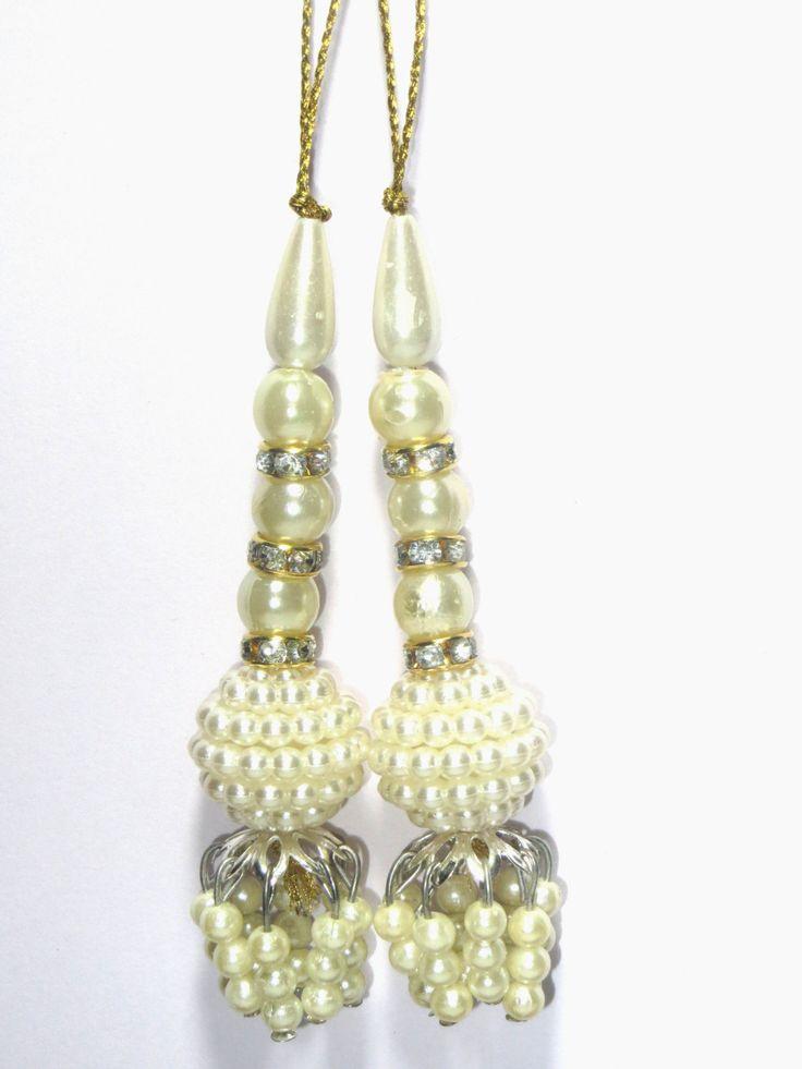 White pearl Ethnic Handcrafted Glass Bead Traditional Tassel / Embellishment / Decoration /Saari/Curtain Tassels  Latkan Supply 1 pair India by CRAFTYJAIPUR on Etsy