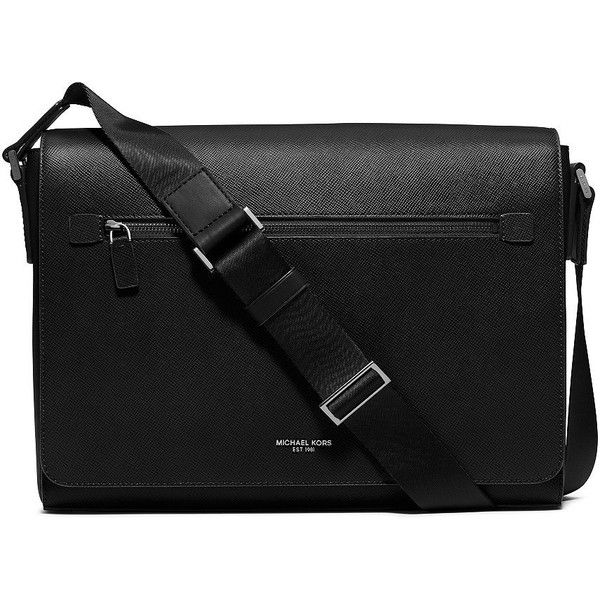 Michael Kors Harrison Leather Messanger Bag ($498) ❤ liked on Polyvore featuring men's fashion, men's bags, men's messenger bags, black, mens leather messenger bag, michael kors mens messenger bag, mens laptop messenger bags and mens leather laptop messenger bag