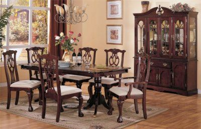 Cherry wood Chippendale style dining room with a Duncan ...