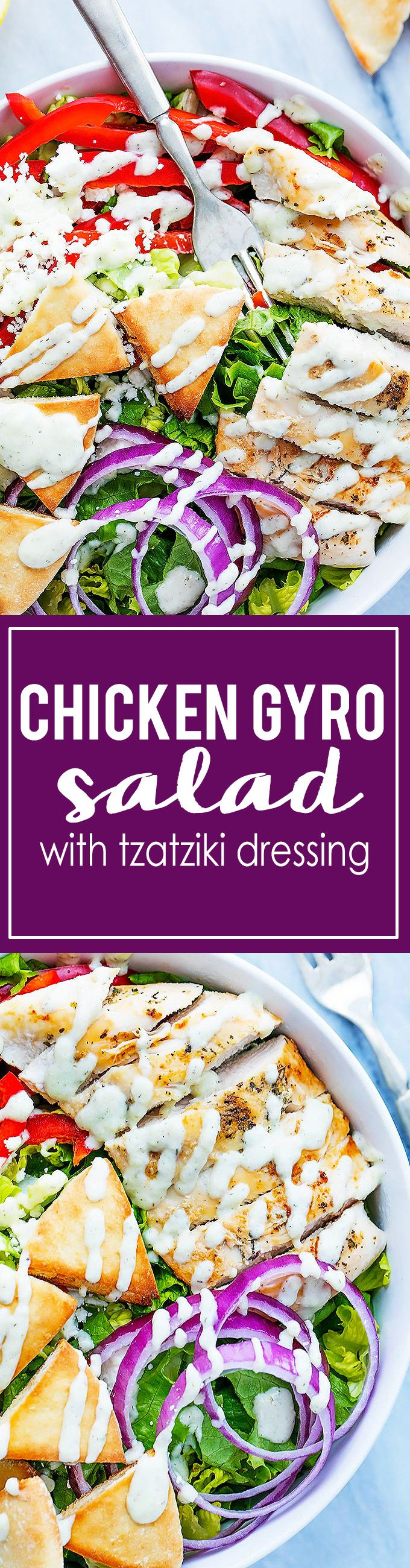 Chicken Gyro Salad with Tzatziki Dressing | Creme de la Crumb