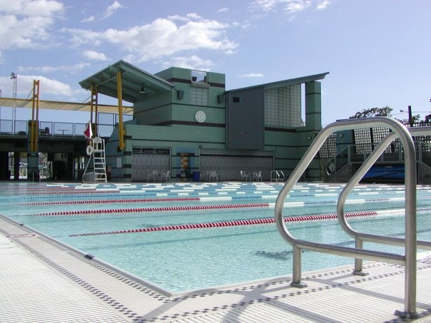 Santa Monica Swim Center at Santa Monica College, 2225 16th St, Santa Monica, CA -- great facility with two heated pools (an Olympic size lap pool and a splash pool for kids) -- open almost year-round and relatively inexpensive.