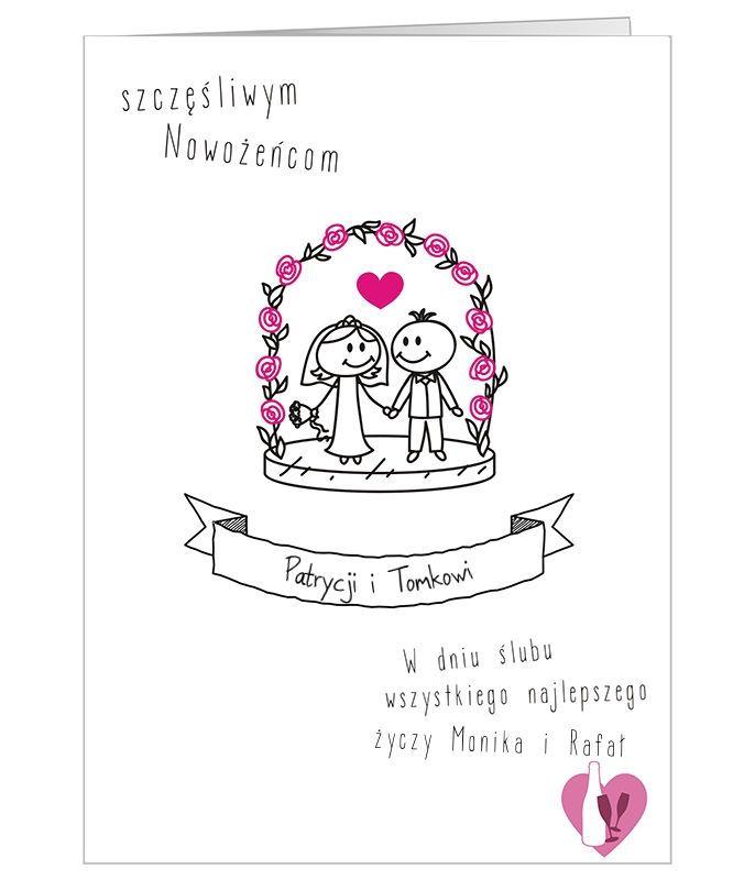 Zabawna, rysunkowa, personalizowana kartka ślubna