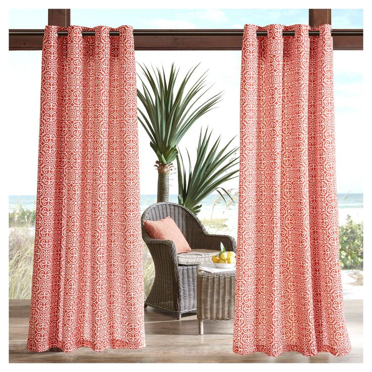 Brighten your outdoor space with the Delmar 3M Scotchgard Outdoor Panel. The fretwork design pops against the background for a modern update, while the weather resistant fabric provides long-lasting durability for the whole season. The 3M Scotchgard treatment helps repel moisture, resist staining, and creates a durable water barrier that keeps these curtains drier longer. Simply hang to stylishly separate your space, enhance privacy, or filter the right amount of light for comfort. Fabric…