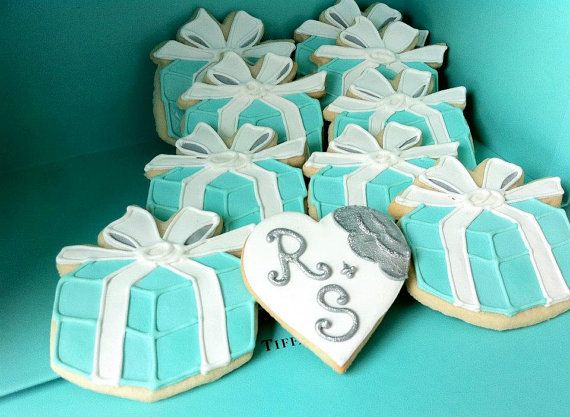 Tiffany Blue Engagement Ring Box Decorated Cookies By