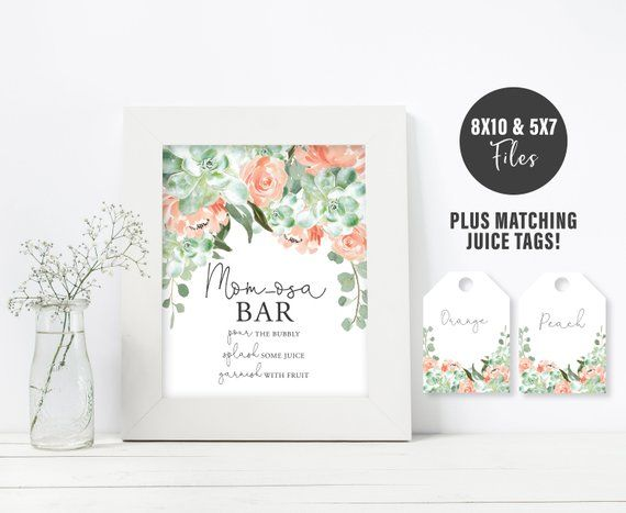 Mom Osa Bar Sign Plus Juice Tags Peach Florals And Succulent Momosa Bar Kit Printable Instant Dow Wedding Shower Signs Wedding Favours Sign Floral Printables
