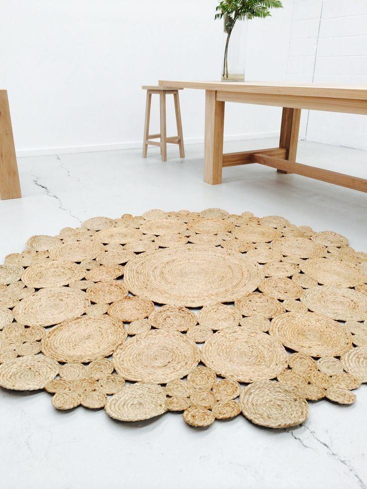 Round Flower Jute Rug 3 sizes - 90cm/120cm/180cm by The Wood Room Furniture/Homewares