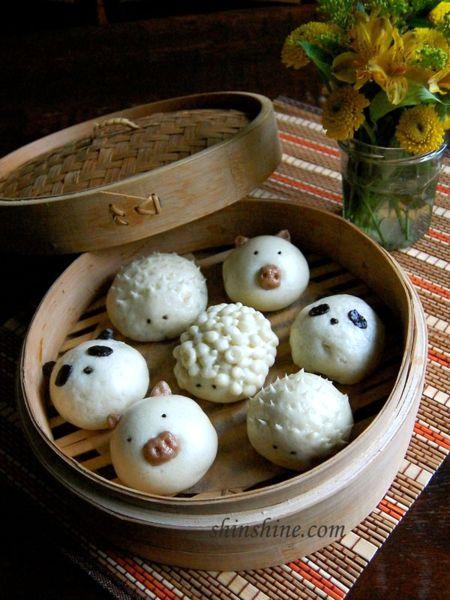 Mini Steamed Buns (찐빵 jjin bbang) - panda, porcupine, piggy and lamb so cute!!