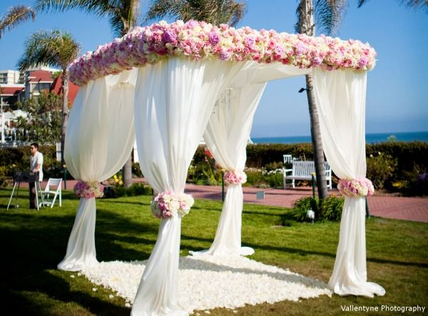 White Wedding Canopy with Flowers.