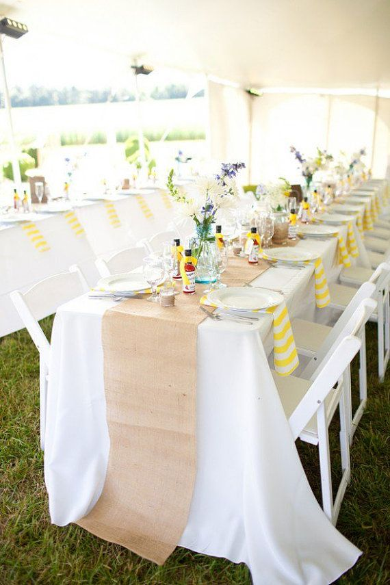 SHIPS ASHAP with DHL - Natural Burlap runner 12'' - Rustic Wedding Runner - Stitched Edges - choose your length