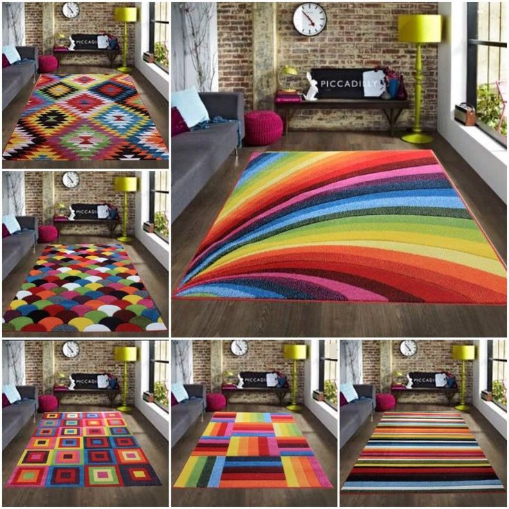 Multi Coloured Funky Bright Modern Thick Rugs Soft Heavy Runner Rug Cheap Mats