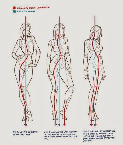 Resimdeki kırmızı çizgiler vucüdun ağırlık merkezini mavi çizgiler ise merkez çigisini göstermekte. Yapılan çizimde ağırlık merkezini doğru yerleştirmek çok önemlidir. Ağırlık merkezindeki hatalar çizilen figürün yere tam basmaması, proporsyon bozuklukları gibi olumsuzluklara neden olabil
