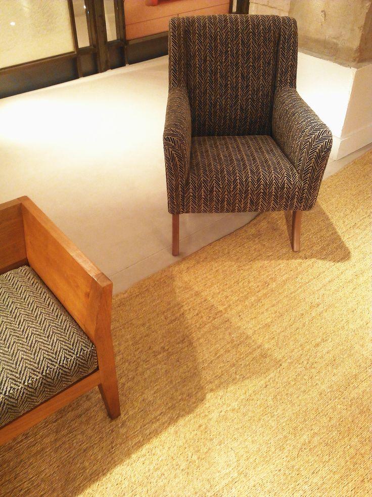 #herringbone pattern @ #rug #bench and #armchair #estudioy #pascuaortega #elcorteingles #Estudio[Y]