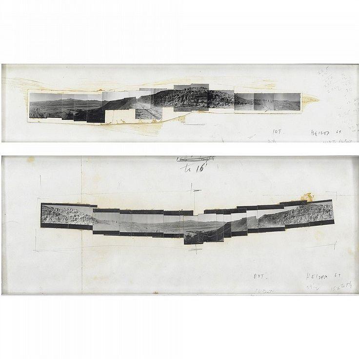 MICHAEL HEIZER: Drawing double negative - Exterieur, 1969. Fotografie, inchiostro e matita su carta. 19x49 cm. Firmato, intitolato, iscritto e datato 69.