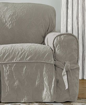 Sure Fit Matelasse Damask 1 Piece Sofa Slipcover