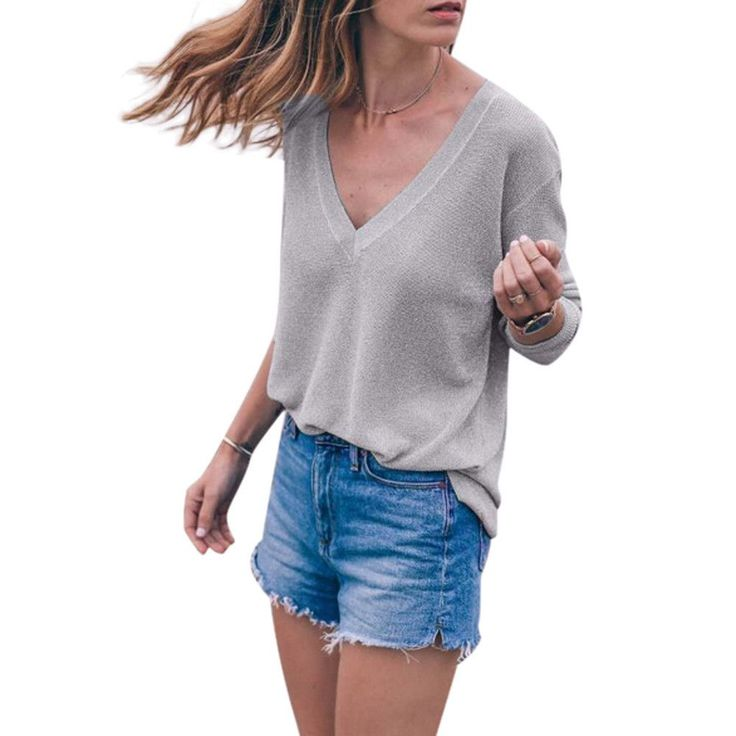 Women Fashion Lon...  #buy it at  ReShop Store  here http://www.reshopstore.com/products/women-fashion-long-sleeve-knitted-pullover-loose-sweater-tops-shirt-blouse-sexy-gray-deep-v-female-clothes-blouses?utm_campaign=social_autopilot&utm_source=pin&utm_medium=pin