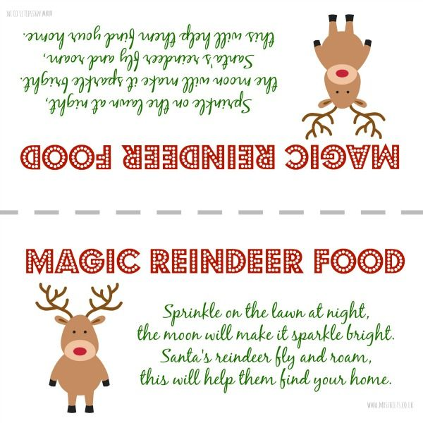FREE printable label for Magic Reindeer Food perfect to leave out for the reindeer on Christmas Eve